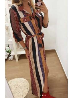 Vestido largo camisero etnico