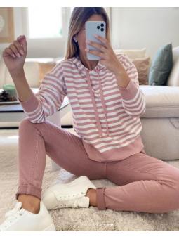 Suéter/sudadera rayas rosas...