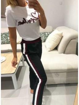 Pantalones negros franja grante