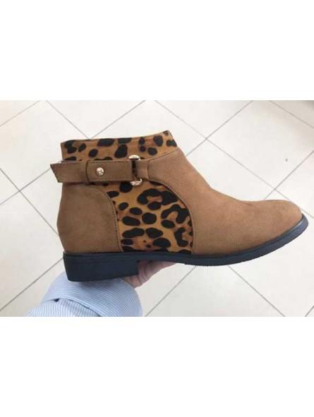 Botín leopardo marrón