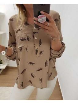 Camisa tigres fondo camel