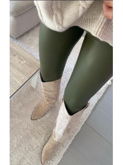 Pantalones polipiel Verde...