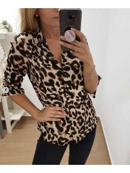 Camisa manga larga leopardo