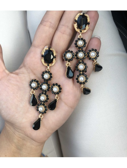 Pendientes cruz negro perlas