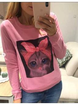 Sudadera gato rosa