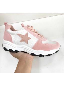 Zapatillas rosas y blancas estrella