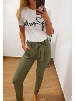 Pantalones verde lazada elásticos
