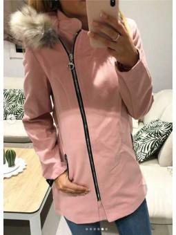 Abrigo rosa capucha pelito