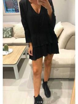 Vestido/blusa plisado negro