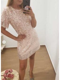 Vestido corto lentejuelas rosa