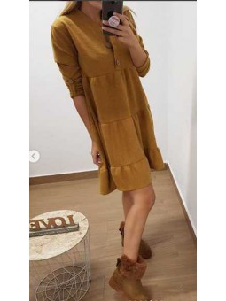 Vestido mostaza botones madera