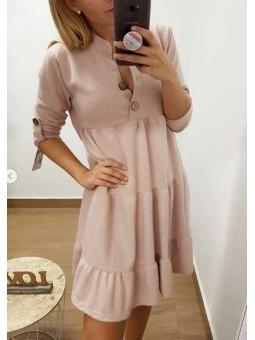 Vestido rosa botones madera