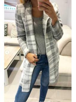 Chaqueta lana cuadros gris y blanca