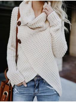 Suéter lana cruzado botones...