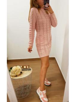 Vestido lana rosa bolsillos