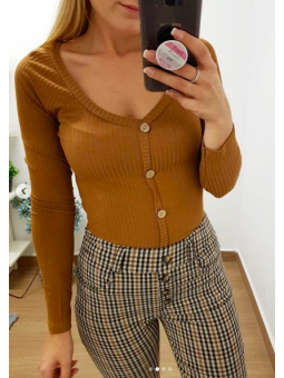 Camiseta canalé marrón