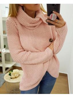 Suéter rosa cruzado botones