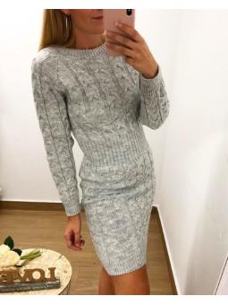 Vestido nudos lana gris