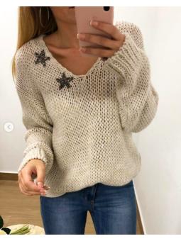 Suéter lana beige liso...