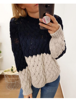 Suéter bicolor azul marino...