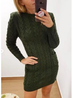 Vestido lana verde militar...