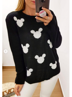 Suéter lana negro silueta...