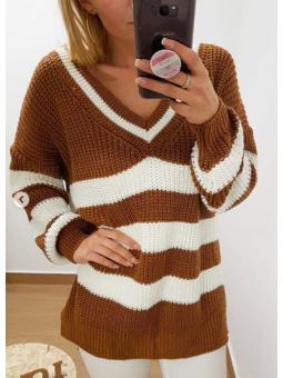 Suéter/vestido rayas marrón...