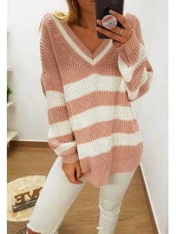 Suéter/vestido rayas rosa