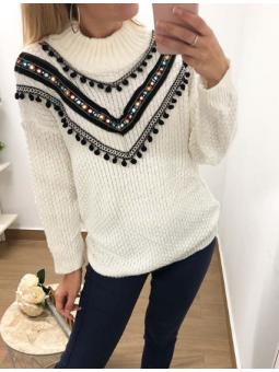 Suéter lana crudo étnico