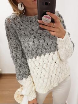 Suéter bicolor gris y blanco
