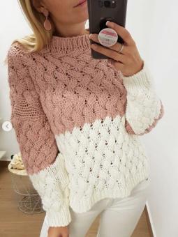 Suéter bicolor rosa y blanco
