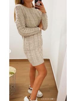 Vestido lana beige bolsillos