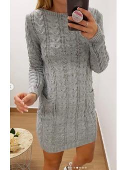 Vestido lana gris bolsillos