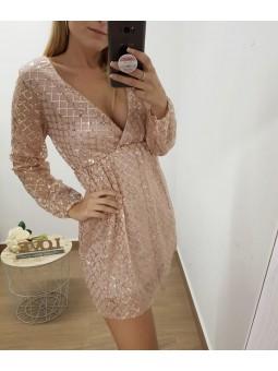 Vestido lentejuelas oro rosa