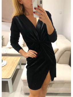 Vestido terciopelo negro nudo