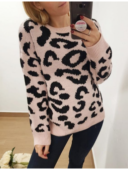 Suéter animal print rosa