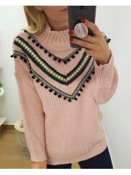 Suéter étnico rosa