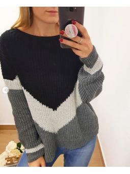 Suéter lamé franjas gris y...