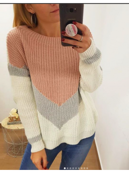 Suéter lamé franjas rosa y...
