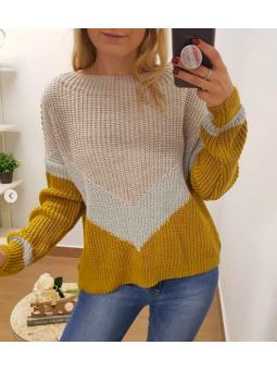 Suéter lamé franjas mostaza...