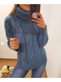 Suéter cuello alto azul...