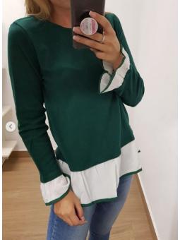 Suéter verde volante blanco
