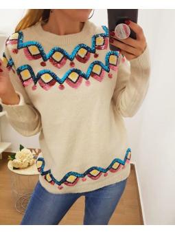 Suéter beige lentejuelas...