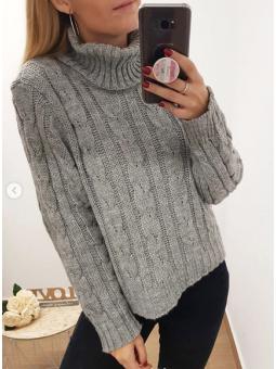 Suéter nudos gris cuello alto