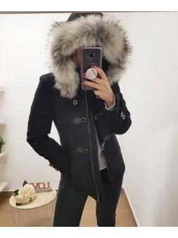 Abrigo negro hebillas