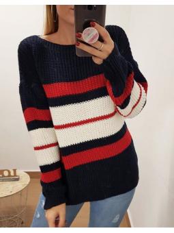 Suéter rojo y marino