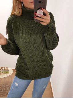 Suéter cuello alto verde...