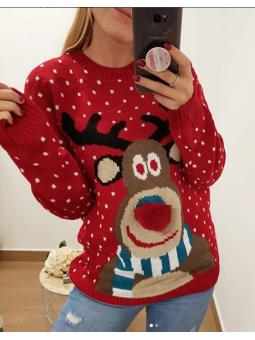 Suéter reno fondo rojo