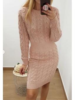 Vestido nudos rosa midi