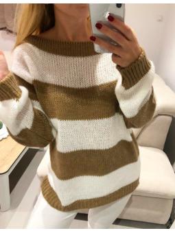 Suéter Milán blanco y marrón